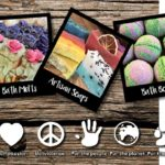 Polaroid styled photographs showing All Natural bath bombs in Burlington and artisan soaps with business beliefs stated underneath the photos.