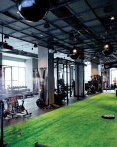Artificial Turf with gym equipment